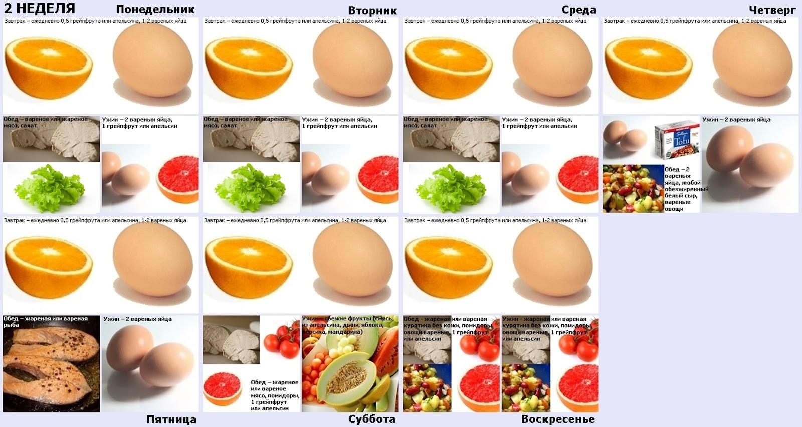 Белковая яичная диета меню
