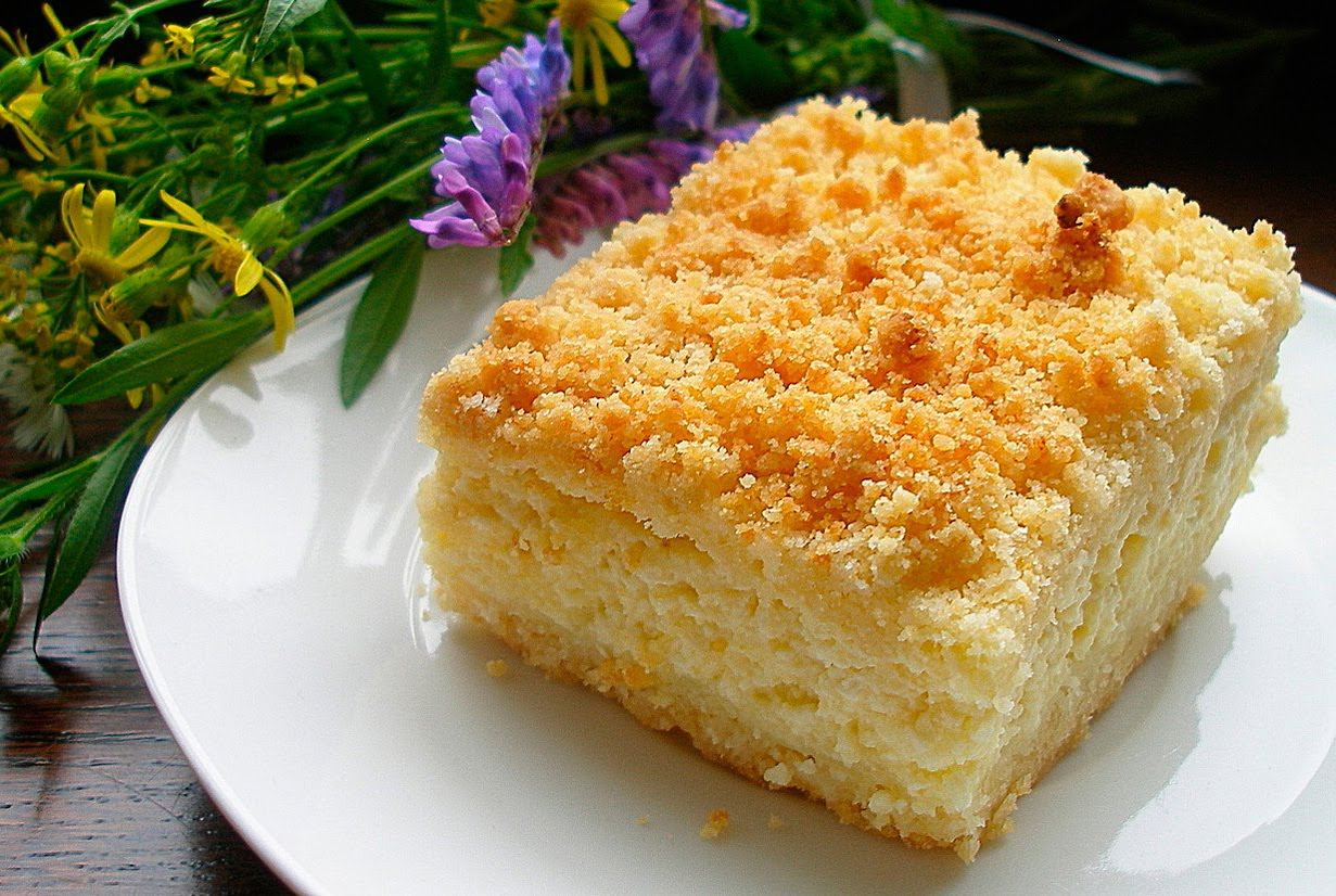 Пирог песочный с творогом в духовке