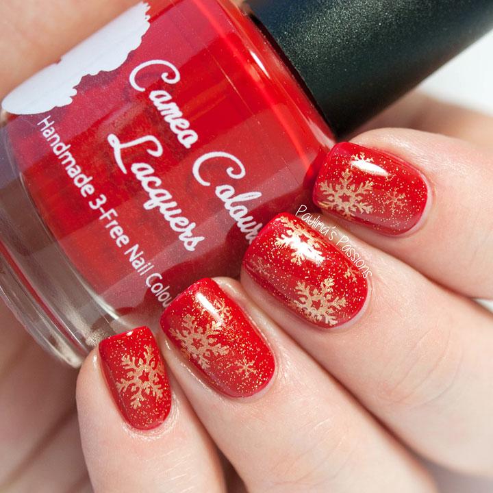 Фото ногти красные новогодние