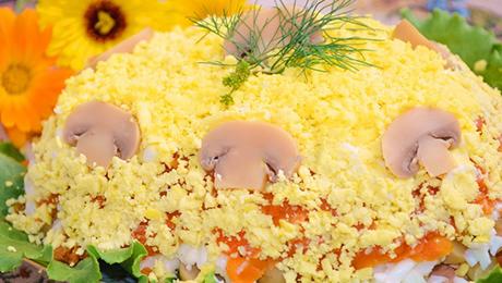 Фото и отзывы о Самый вкусный салат с горбушей и грибами. Рецепт