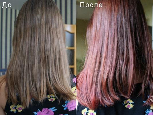 Палитра цветов тоника для волос до и после